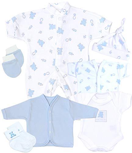 Babyprem Bebé Prematuro Juego de Regalo 7P Pijama Body Ropa Algodón Niños 38-44cm AZUL P2