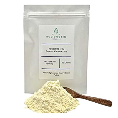 Royal Jelly Powder by Holistic Bin - 3X Concentration (50 Servings) Naturally Sourced from Tibetan Plains. Rich in Proteins (Collagen), Amino Acids, Probiotics, Natural Superfood
