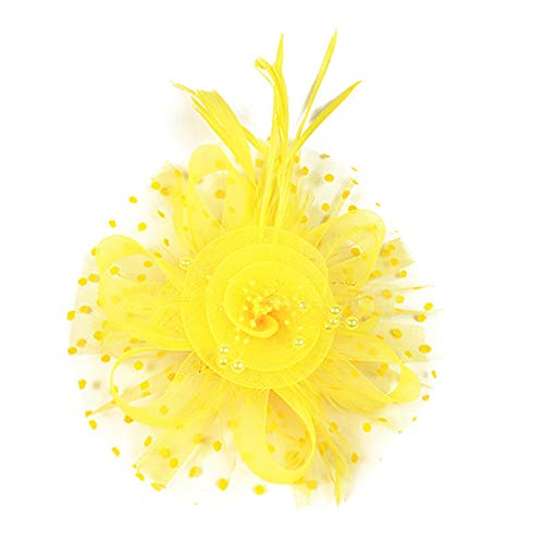 Tancurry Damen Feierliche Anlässe Faszinator Hut Federhut Kopfbedeckung Vintage Haarschmuck Party Hochzeit Kopfschmuck (Gelb)