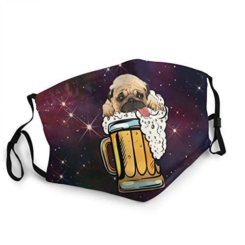 Mundschutz für Erwachsene, Mops, Bier, Trinkparty, lustig, verstellbar, für Damen und Herren