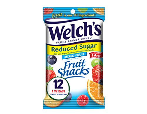 Welch#039s Fruit Snacks Reduced Sugar Mixed Fruit Gluten Free 4 oz Bags Pack of 12