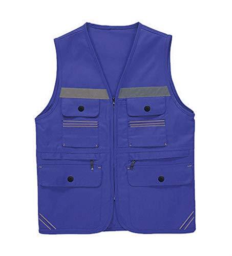 Icegrey Unisex Veiligheidsvest met zes zakken, goede zichtbaarheid, ademend, reflecterend vest met ritssluiting Large donkerblauw