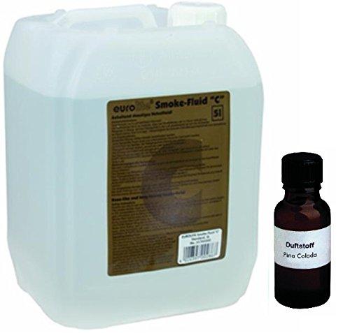 5 Liter Eurolite C (Standard) Nebelfluid + 20 ml Duftstoff Pina Colada, Smoke-Fluid, Nebel-Fluid-Flüssigkeit für Nebelmaschine