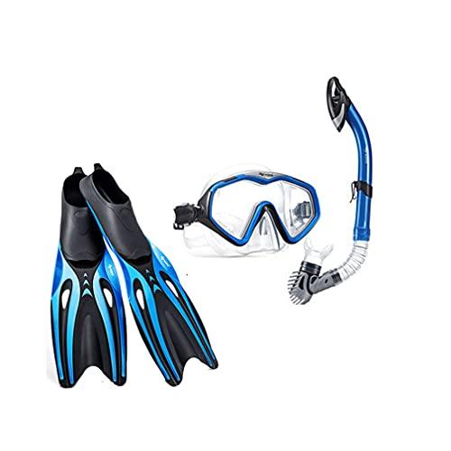 YLJXXY Kit de Snorkel con Máscara de Buceo, Esnórquel y Aletas de Antideslizante para Niños y Adultos, Juventud Unisex