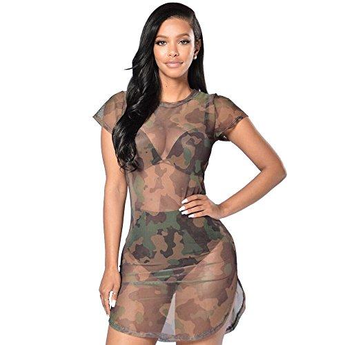 LEXUPE Sexy Bodycon Camouflage Gaze Für Frauen Durchsichtiges Abendkleid(B-Tarnen,Small)