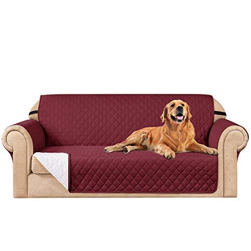 subrtex Funda de sofá Reversible Acolchada para 1,2,3 plazas Funda de Silla Antideslizante para Mascotas y niños con Correas Elásticas Protector de Muebles (3 Plaza,Burdeos)