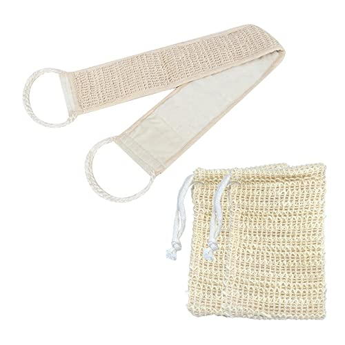 Lathr™ Natural Back Scrubber & Soap Saver Pouch Combo | Made with Sustainable Vegetable Fibre | Gently Exfoliates Skin | Bathing Accessories for Men & Women | Made in India