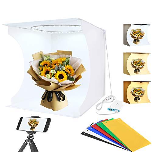 Adjustable Light Photo Studio Box Portable Ring Light Mini Folding Lightbox Photography Softbox 3 Mode and 10 Adjustable Brightness with 3200K ~ 6500K Warm White Lighting 32cm x 31cm x 31cm