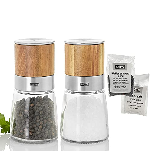 AdHoc Geschenkset Pfeffermühle / Salzmühle AKASIA inkl. gratis Meersalz und schwarzem Pfeffer, Keramik Mahlwerk