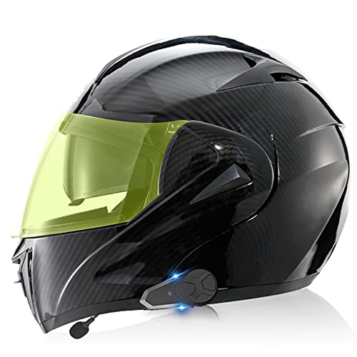 Bluetooth Walkie Talkie Casco de Moto Modular, ECE Homologado Cascos de Motocicleta,Doble Visera,Sistemas de comunicación por intercomunicador para Adultos Hombres Mujeres 3,M