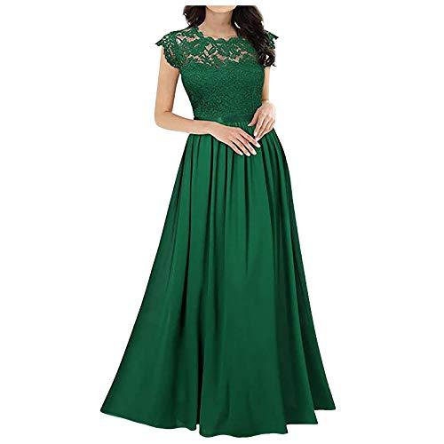 Blingko Abendkleid Lang Elegant für Hochzeit mit ärmeln Spitzen Brautkleider Cocktail Maxi Kleid