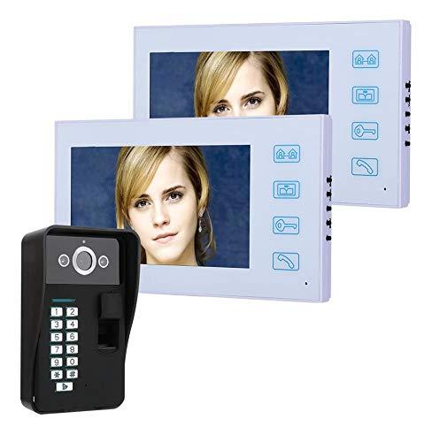 Jxiao 7'TFT 2 Monitor Reconocimiento de Huellas Digitales RFID Contraseña Videoportero Teléfono Intercomunicador Timbre con visión Nocturna Seguridad Cámara CCTV Vigilancia del hogar