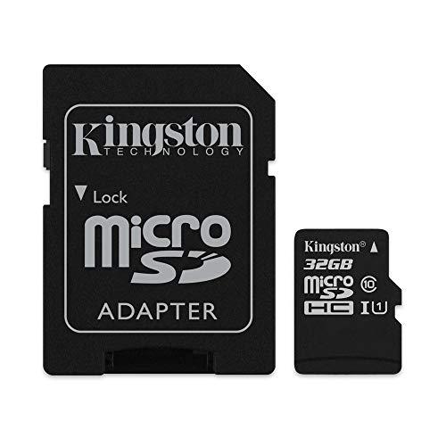 Kingston SDCS/32GB - MicroSD Canvas Select velocidades de UHS-I Clase 10 de hasta 80 MB/s Lectura (con Adaptador SD) Negro
