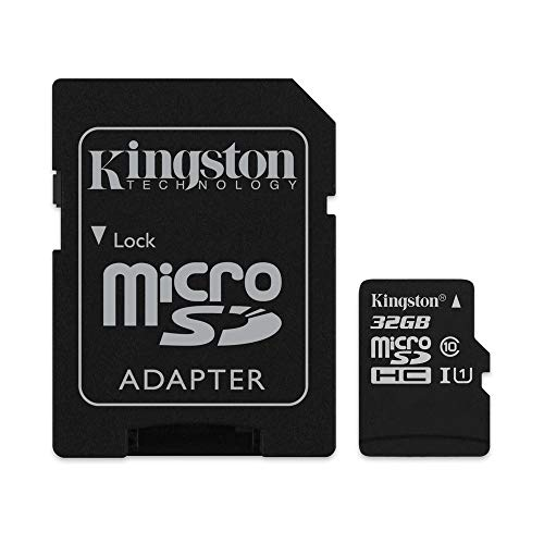 Kingston Canvas Select - Tarjeta microSDHC de 32 GB, clase 10 UHS-I, 80 MB/s leer, 10 MB/s escribir, FAT32