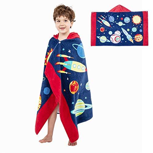 Badeponcho Kinder Kapuzenbadetücher Handtuch mit Kapuzen Kapuzenponchos Baumwolle Kapuzenhandtücher Badetuch Bademantel Strandtuch für Schwimmen Mädchen Jungen Weich Warm Trocknend Cartoon (Planet)