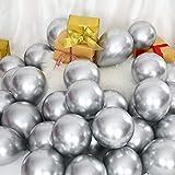 Sumind 100 Piezas Globos Metálicos de 5 Pulgadas Globos Decorativos de Látex para Decoración Fiesta Festival Compromiso Boda Cumpleaños(Plata)