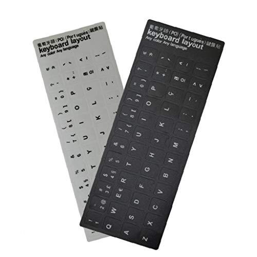 Angoter Portugiesisch Tastatur-Aufkleber Öko-Umwelt Kunststoff Portugiesisch Tastatur-Aufkleber für Laptop-Computer Schwarz