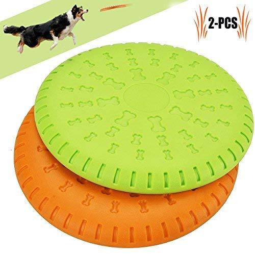 Legendog Scheibe Hund, 2 Stücke Weiches Gummi Hunde Scheiben Durable Training Hundespielzeug Set Interactive Outdoor Spielzeug für Große Hunde 23 cm (Gelb und Grün)