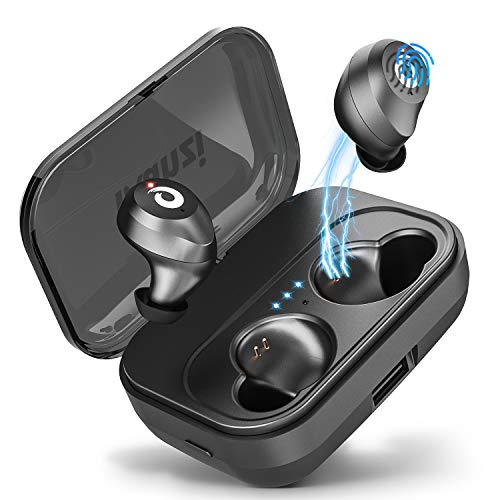 Bluetooth Earbuds True Wireless Earbuds [2019 Newest Version], Bluetooth 5.0 IPX7 Waterproof 3D Stereo Sound Auto Pairing Wireless Headphones in-Ear Bluetooth Headset with Charging Case (Black)