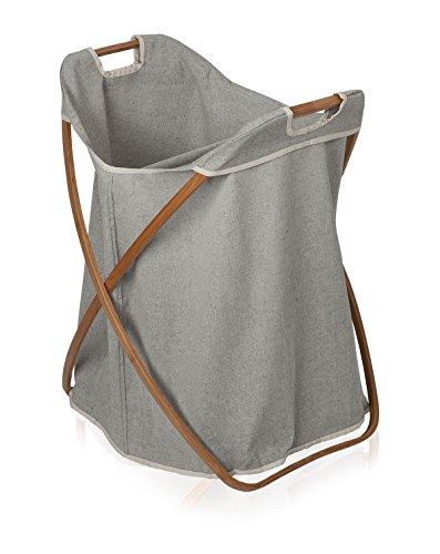 Möve Bamboo Klappbarer Wäschekorb zweigeteilt 56 x 51 x 66 cm aus Bambus mit Canvas, Grey
