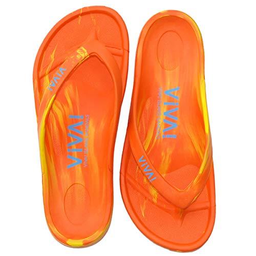 [VIVA! ISLAND] SANDALS(ビバアイランド) FLIP FLOP ビーチサンダル Orange/Yellow/38 (24.0〜24.5cm)