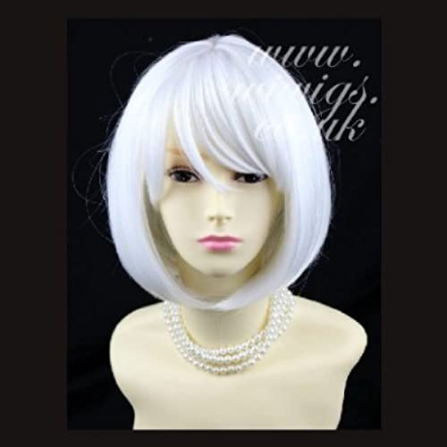 estar en gran demanda NEW Bob Style Skin Skin Skin Top Pure Snowy blanco Ladies Wigs with fringe Cosplay Wig UK by Wiwigs  protección post-venta