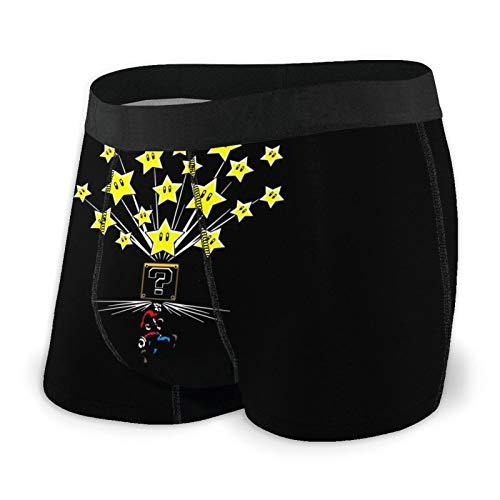 Zsrgvdrf Super Mario Herren Boxershorts S-XXL Print Unterhose Design Super Weich Bequem Und Atmungsaktiv Und Elastisch Schwarz Gr. XL, Schwarz