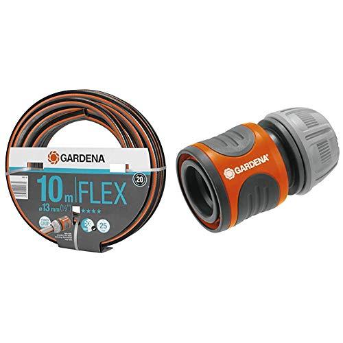 Gardena Comfort FLEX Schlauch 13 mm (1/2 Zoll), 10 m & Schlauchverbinder 13 mm (1/2 Zoll) und 15 mm (5/8 Zoll): Steckverbinder für den Schlauchanfang, Griffmulden, einfache Montage, verpackt