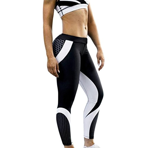 Clearance! Auwer Hot Sale! Womens 3D Print Yoga Pants Skinny Workout Gym Leggings Sports Training Cropped Pants (M, Black)