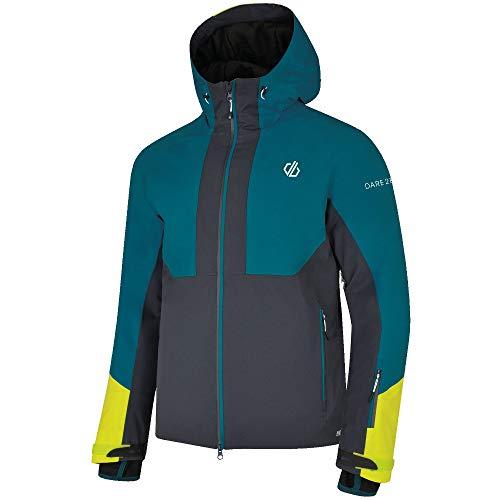 Dare 2b Herren Panorama-Jacke, wasserdicht und atmungsaktiv, isoliert, für Wandern, Ski- und Snowboard-Jacke mit Draht-Schirmmütze und abnehmbarem Schneefang, wasserdicht XS Ocean Depths/Ebony Grey