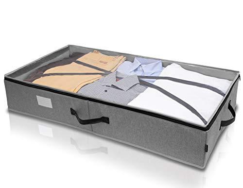 ONESE Premium Unterbett Aufbewahrungstasche selbststehend | Unterbettkommode + Haltegurt | Aufbewahrungsbox Kleidung Bettwäsche | Ledergriffe | faltbar