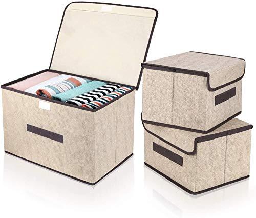 DIMJ Cajas de almacenaje Plegable, Conjunto de 3 Cajas Organizadoras Tela, Cubos de Almacenamiento con Ventana Transparente, Organizadores de Contenedore para Ropa Juguetes Libros (Beige)