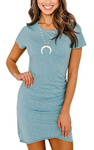 ECOWISH ECOWISH Damen Enges Kleid Sommerkleid Rundhals Kurzarm Kleid Bodycon Unregelmäßig Minikleid Blau XL