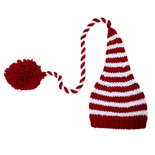 Haokaini Sombrero de Navidad para Bebés Bebé Recién Nacido Crochet Rayado de Cola Larga Pompón de Punto Gorro para Recién Nacido Accesorios de Fotografía Fiesta Disfraz de Navidad