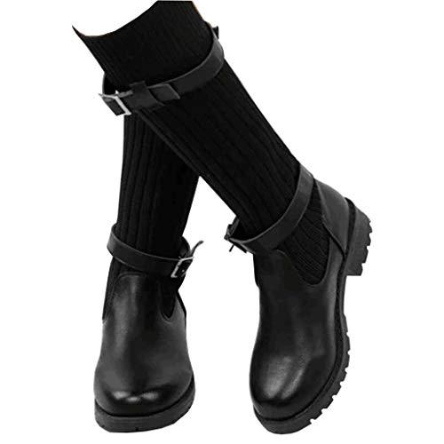 Botas Mujer Invierno Tacon Forrado Calentar Botas Altas Botines Moda Casual Outdoor Zapatos de Nieve Snow Boots