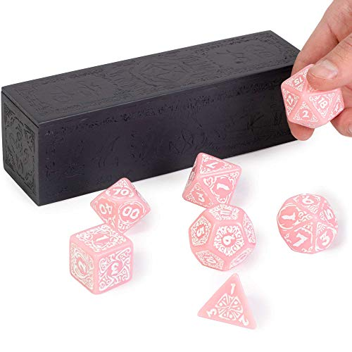 Titan Dice: Calliope - Juego de dados gigantes de 25 mm y caja de madera grabada, color rosa con números blancos, juego de rol de mesa, accesorios novedosos para juegos de rol