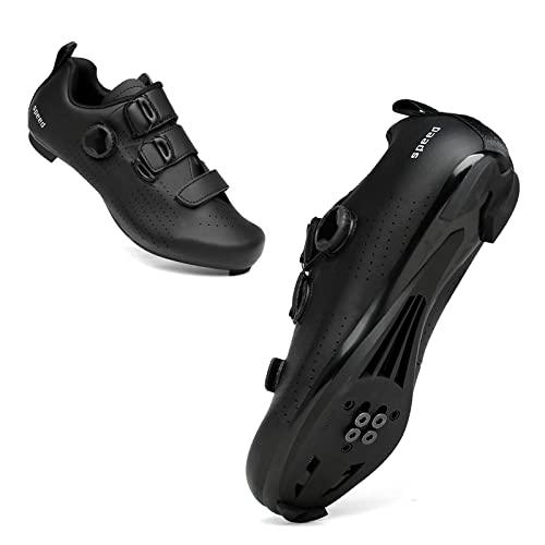 KUXUAN Calzado de Ciclismo Hombre Mujer Road Mountain MTB Calzado de Bicicleta Antideslizante Transpirable, Suela - Nylon,Black-5UK=(240mm)=38EU