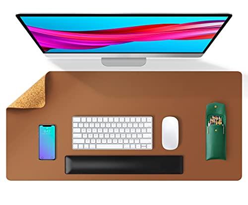 Tapis de bureau double face en cuir et liège naturel Aothia 80 * 40cm, protecteur de bureau en cuir PU lisse/acile à nettoyer/imperméable pour les jeux de bureau/à domicile(Marron)