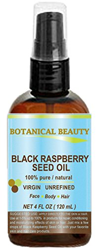 """BLACK RASPBERRY SEED OIL. 100% Pure / Natural / Undiluted / Virgin / Unrefined / Cold Pressed Carrier oil. 4 Fl.oz.- 120 ml. For Skin, Hair, Lip and Nail Care. """"One of the highest antioxidants, rich in vitamin A and E, Omega 3, 6 and 9 Essential Fatty Acids"""
