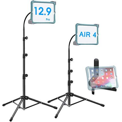 Ipad Tripod Stand, Height-Adjustable 20-67 Inch Floor Stand for Tablet, Gooseneck Stand Tripod for 9.5-14.5 Tablets/IPad 10.2-12 Inch IPad Pro/iPad 6/7/Air 3 & More-Extra Tablet Holder Stand