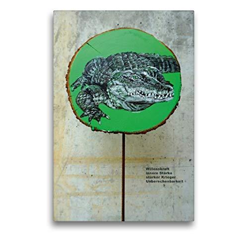 CALVENDO Premium Lienzo 50 cm x 75 cm de Alto, el cocodrilo incalculable Imagen sobre Bastidor, Imagen Lista en Lienzo auténtico, impresión en Lienzo Animales, Animales