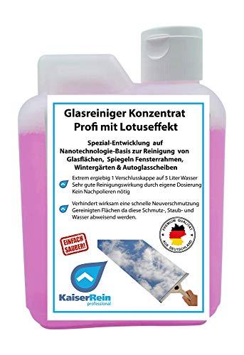 KaiserRein Profi Glasreiniger & Fensterreiniger Konzentrat mit Lotus-Effekt 500ml Kanister für alle Glatt und Glasflächen