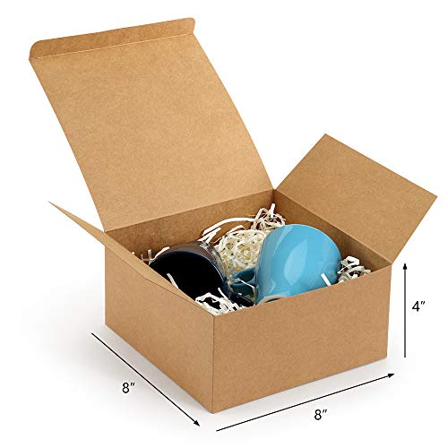 "ValBox Gift Boxes with 66ft Twine 12 Pack 8 x 8 x 4"" Brown Paper Gift Boxes with Lids for Gifts, Crafting Cupcake Boxes, Easy Assemble Bridesmaids Proposal Boxes"