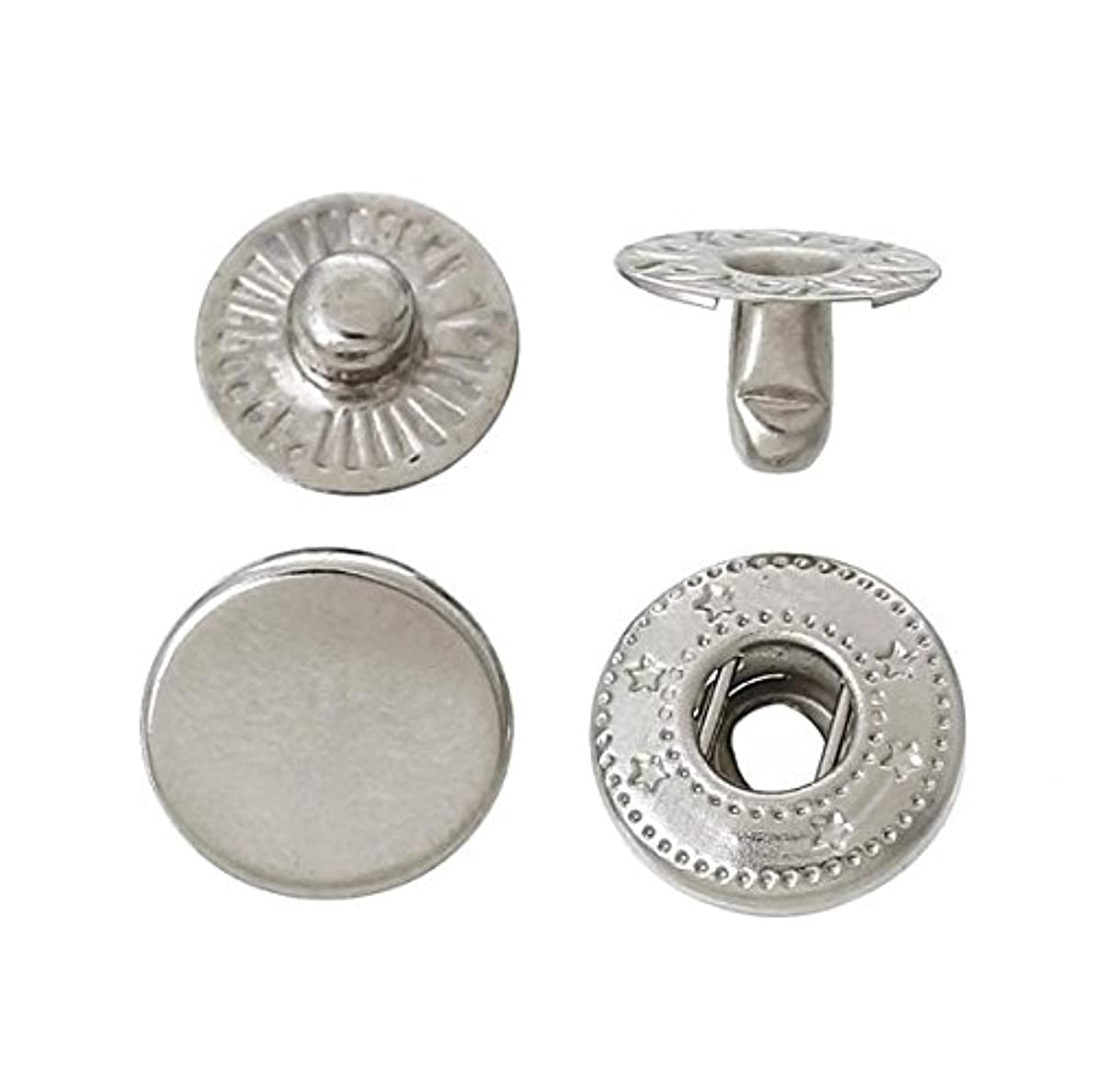 120 Sets 10mm Metal Snap Fasteners Press Stud Rounded Sewing Rivet Buttons Clothing Leather Craft DIY Poppers Silver ozuqwq9219