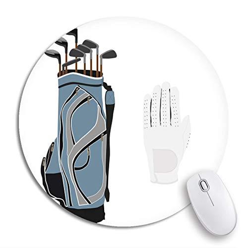 Rundes Mauspad Aktive blaue Golfschläger Sportausrüstung Weiße Handschuhe Aktivität Rutschfeste Gummibasis Mausmatte Gaming Mousepad für Computer