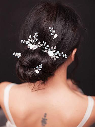 Handcess Haarnadel mit Opal-Kristallen, Blume, Silber, Brautschmuck, Haarschmuck, Strass-Kopfschmuck für Braut und Brautjungfern (5 Stück)