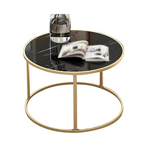 Table family CSQ Metallkaffeetisch, Kreativ Es kann Sich bewegen Kleine runde Tisch Wohnzimmer The Mall Brett- und Tisch Gold Schwarz Bracket Tischchen Stable (Color : B, Size : 50 * 38CM)
