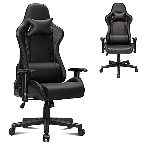Gtracing Silla para juegos, silla para juegos, silla giratoria para juegos de masaje ajustable para adultos, silla de escritorio para juegos reclinable con reposacabezas y almohada lumbar (negro)