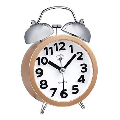TIMETOP - Sveglia analogica a Doppia Campana, per Camera da Letto, con Funzione di ticchettio, Orologio da Viaggio Small Old Skool PRO