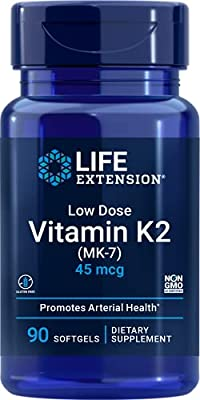 Life Extension Europe Low-Dose Vitamin K2 Soft Gels, 45 mcg, 90-Count